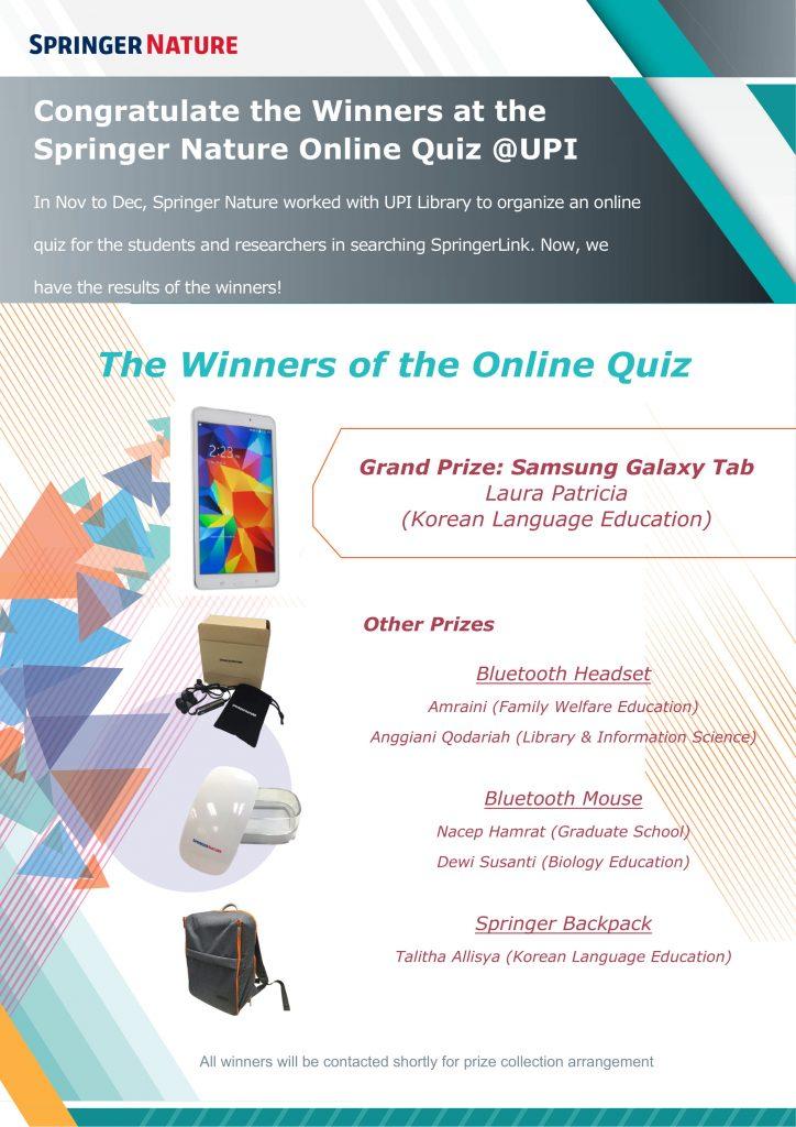 Pemenang Quiz Online Springer Nature