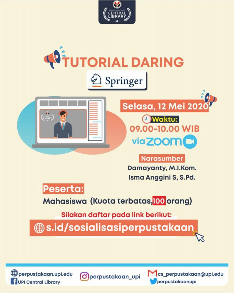 Pelaksanaan Tutorial Daring SpringerLink oleh Perpustakaan UPI